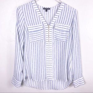 Express White, Blue Stripped Long Sleeve Blouse S